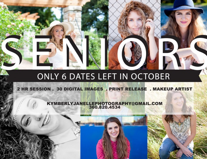October dates for High School Seniors